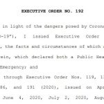 Summary of NJ Exec Order 192 for workforce health and safety during pandemic